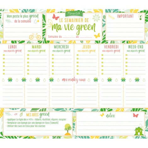 My green weekly planner